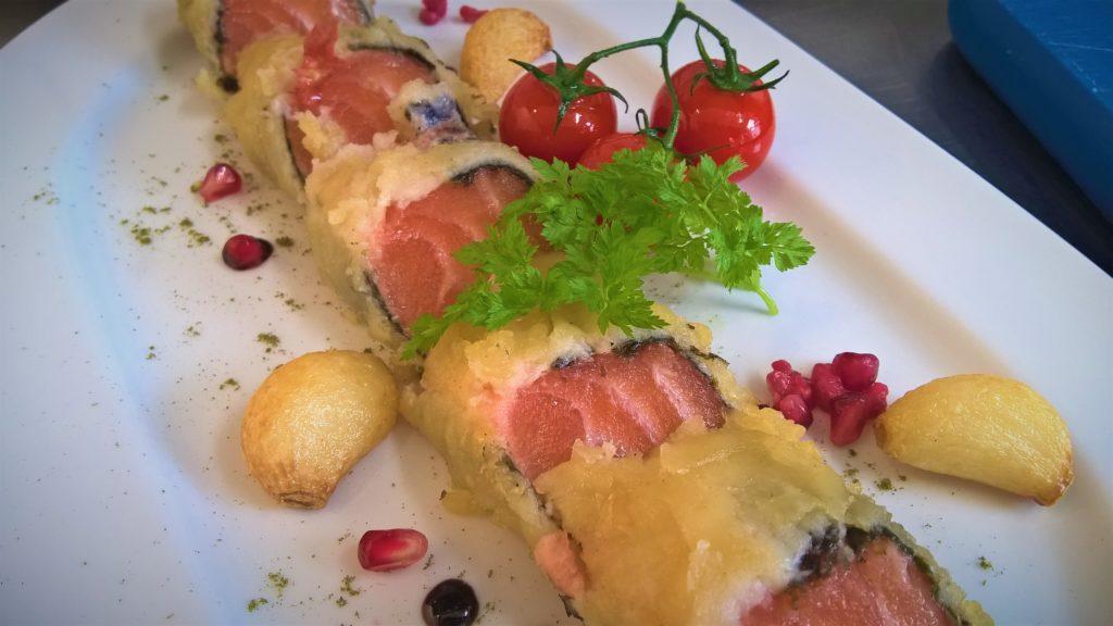 Lachs Nori Panade Grillgemüse Granatapfel